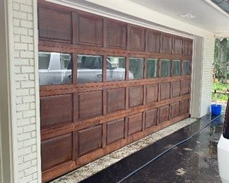 Double solid wood garage door with lift master