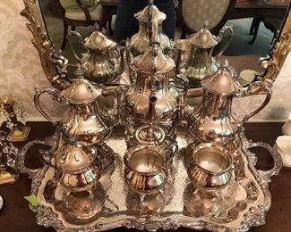 8 piece serving set includes tray, silverplate