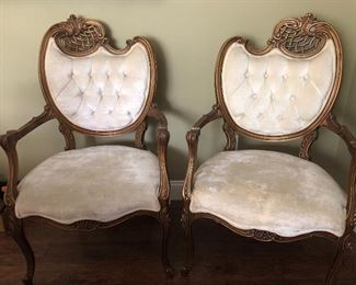 Beautiful velvet upholstered French style chairs