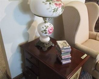 """Norman Rockwell"" occasional table.     Beautiful hurricane lamp. Lamp(s) works, just need to replace the cord."