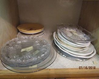 Small platters/medium platters.  Glass and crystal serving pieces.