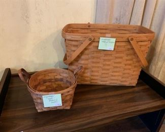 Baskets - but not just any baskets - these babies are Longaberger baskets - they don't even make these things anymore.  Get them while you can.