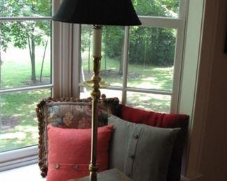 candlestick lamps, pillows