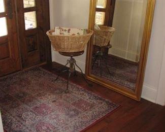 large mirror, vintage adjustable piano stool