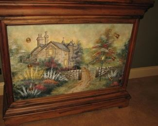 Jasper cabinet with Thomas Kincade - style painted front