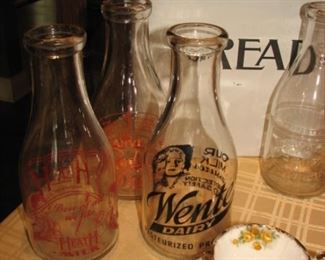 vintage glass dairy bottles, bread box, collection of teacups & saucers