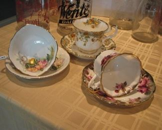 vintage  collection of teacups & saucers