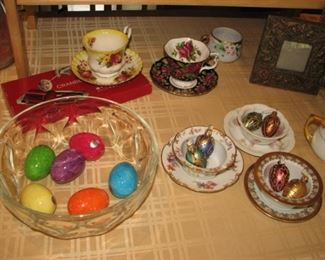 vintage stone eggs, collection of teacups & saucers