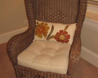 wicker wing back chair