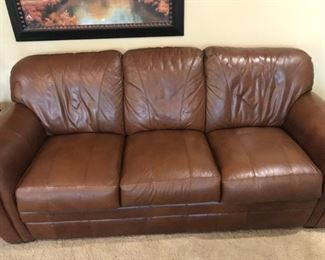 Leather Mart - Chestnut Brown Leather Couch.  Good condition