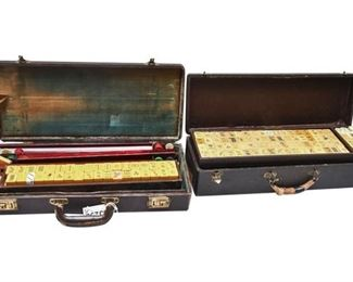 4. Vintage Mahjong Sets 2 in Leather Carry Case