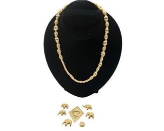 7. Vintage Carved Ivory Beaded Necklace wElephants
