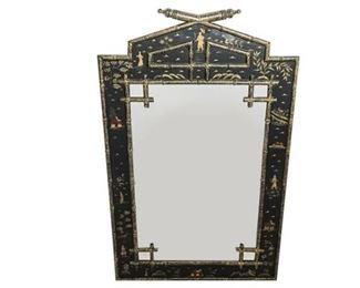 9. Chinioserie Bamboo Black Lacquer Mirror