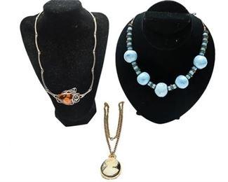 10. Lot Three 3 Vintage Costume Necklaces