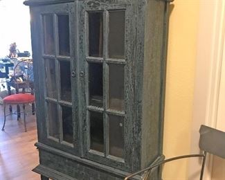 "$595 - beautiful rustic, painted, large green (media, storage) cabinet with glass doors (approx. 68""H x 36""W x 15""Deep)"