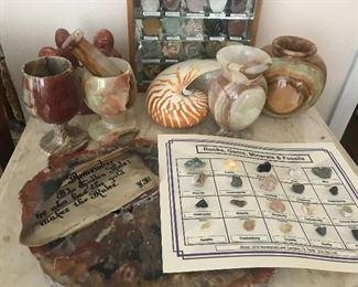 Carved Onyx, Shells, Rocks