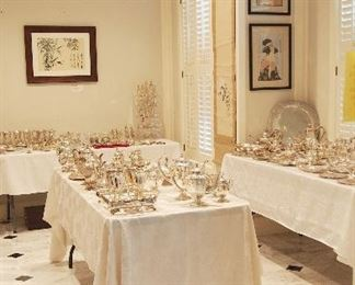 ENTIRE ROOM OF 100's and 100's of pieces of STERLING!! Every single piece in the dining room is STERLING most of it is by Mexican Sterling Artists and most has never been used!