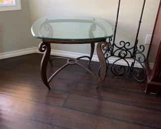 Set of 3 glass top end & coffee tables