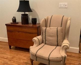 Pair French Linen Wingback Chairs