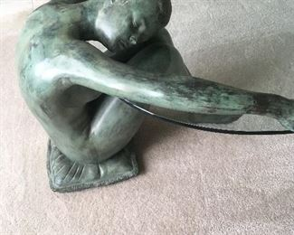 bronze NUDE holding glass table 1/2 OFF ...was $3800     NOW...$1900..