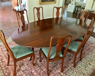Custom made dining room table and 8 chairs