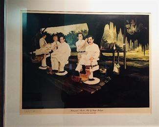 "framed and signed George Rodrigue ""Broussard's Barber Shop"""
