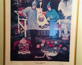 "signed George Rodrigue print  ""Flowers at Mardi Gras"" 1983"