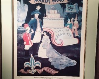 """""""Mardi Gras is the Year of the Lafayette Centennial"""" signed Rodrigue print 1984"""