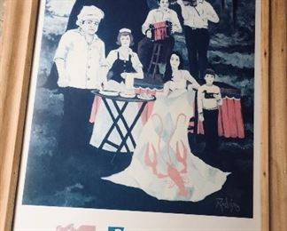 framed but not signed Festival Acadiens poster by George Rodrigue