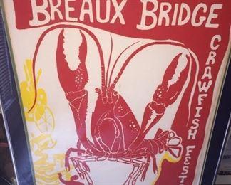 1978 framed Breaux Bridge Crawfish Festival poster
