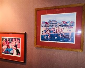 """Earl Hebert signed prints """"Bourre"""" and """"Holly Beach Hotel"""""""