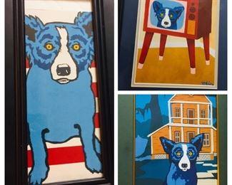 """Framed George Rodrigue """"Blue Dog"""" prints"""
