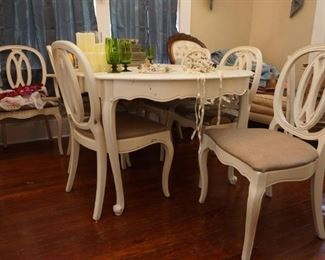 Painted dining table and 8 chairs