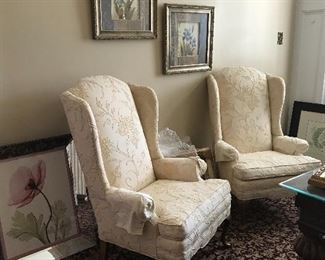 Lovely crewel patterned linen wing chairs, perfect accents, lightly worn, ready to be refreshed.