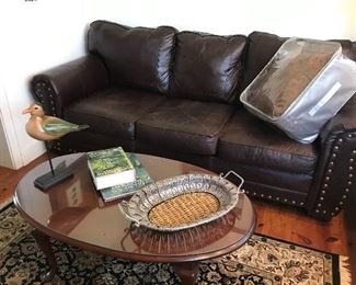 Chocolate Leather Sofa, Hand Knotted Oriental Area Rug