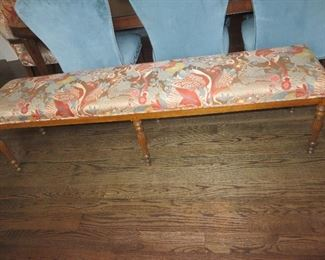 Long French Country Bench in Custom Fabric