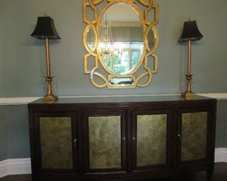 Wall Mirror in Antique Gold Leaf Finish Lamps not for sale