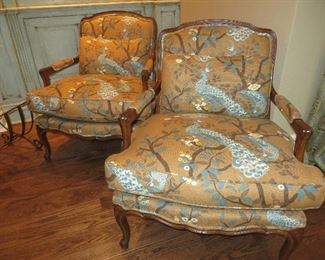 French Bergere Chair in Custom Peacock Design Fabric Baker Furniture