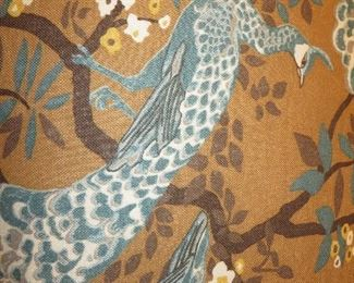 French Bergere Chair in Custom Peacock Design Fabric Baker Furniture (detail)