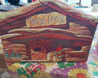 VINTAGE TROLL HOUSE W/ DOLLS / CLOTHING, ETC.