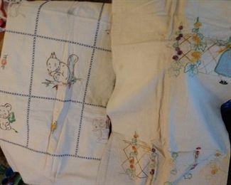 MORE....VINTAGE EMBROIDERY LINENS/ TABLECLOTHS