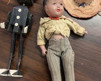 Wooden Jointed Tap Doll c. 1950.   Mexican Vacquero Doll c.1950.