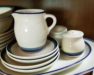 Pfaltzgraff Ocean Breeze - lots of servingware (sugar, creamer, oval platter, salt and pepper - large and small) and bowls, plates.