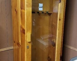 Solid wood locking gun cabinet - very, very pretty!