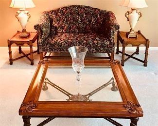 Glass Top Coffee Table w/ Iron Legs & Wood