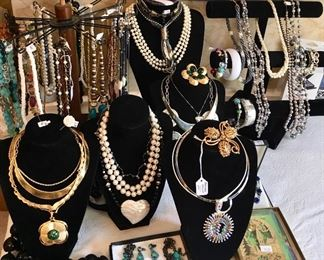 Vintage & Costume Jewelry, Necklaces, One Brass Over Sterling Bracelet, Nice Selection!