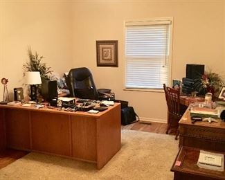 Wonderful Office (Bedroom #5) with L-Shaped Desk, Smaller Desk, also Kittinger Desk • Samsonite Office Chair • HP OfficeJet 3830 (Print/Fax/Scan/Copy/Web)