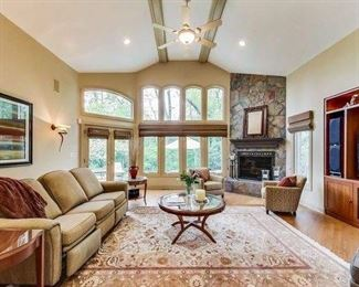 Hickory chair company sofa, rug, end tables