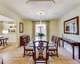 Dining room set, Glass dining table, console table, small chest