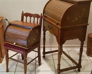 006 Vtg Walnut Roll Top Desk, Chair